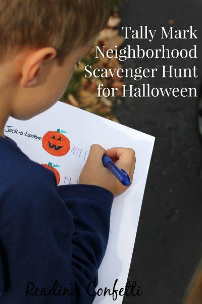Tally Mark Neighborhood Scavenger Hunt for Halloween