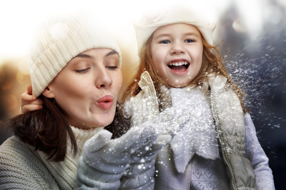 Mother and daughter having fun in the snow